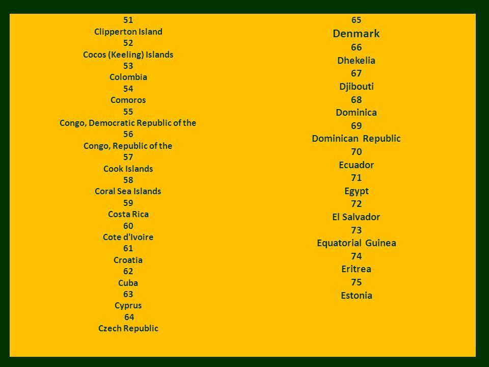 51 Clipperton Island 52 Cocos (Keeling) Islands 53 Colombia 54 Comoros 55 Congo, Democratic Republic of the 56 Congo, Republic of the 57 Cook Islands