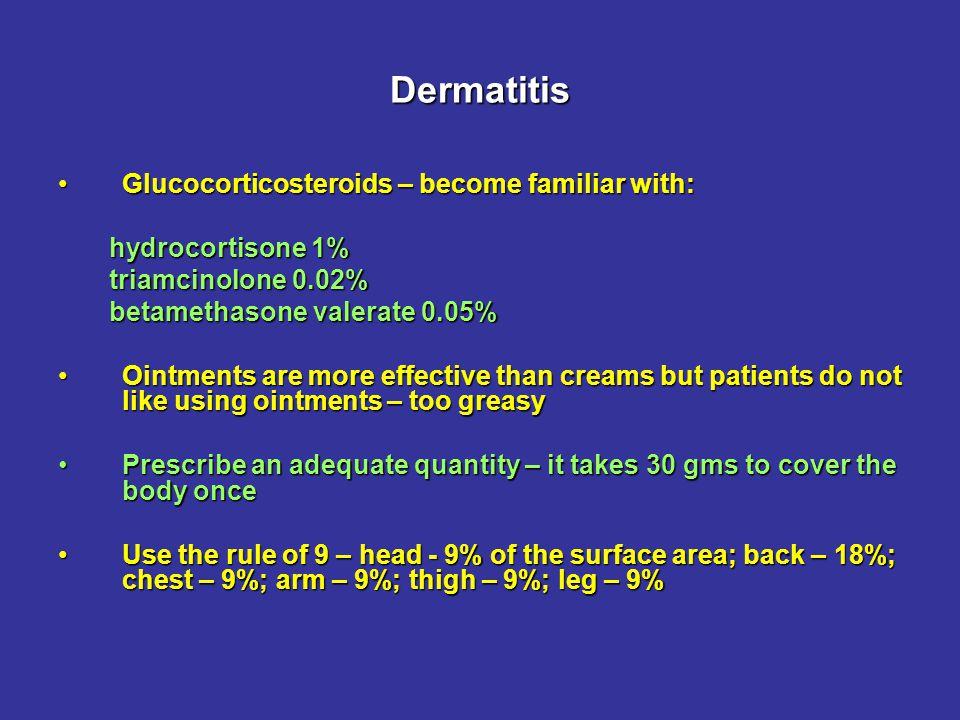 Dermatitis Glucocorticosteroids are safe when applied to the skin.Glucocorticosteroids are safe when applied to the skin.