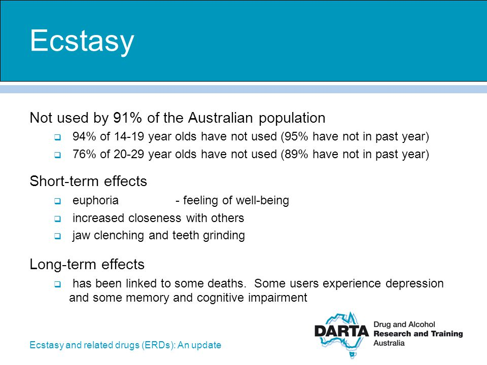 Ecstasy and related drugs (ERDs): An update Not used by 91% of the Australian population  94% of 14-19 year olds have not used (95% have not in past