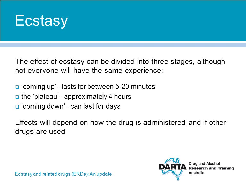 Ecstasy and related drugs (ERDs): An update The effect of ecstasy can be divided into three stages, although not everyone will have the same experienc