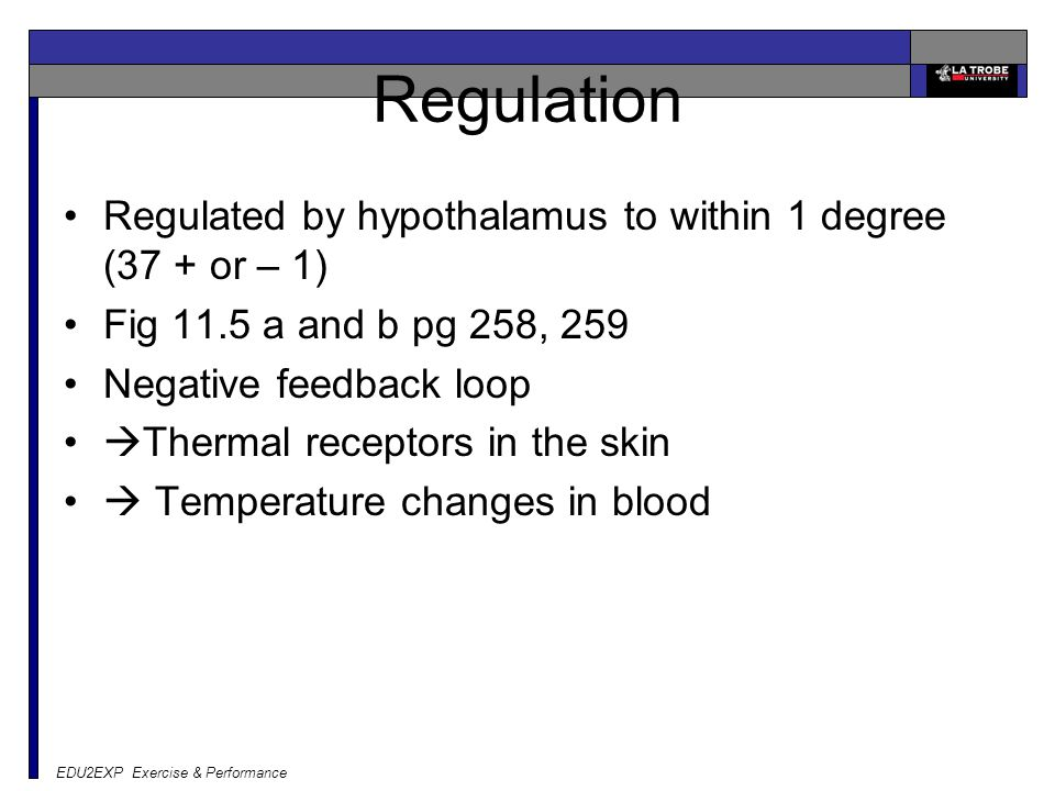 Regulation Regulated by hypothalamus to within 1 degree (37 + or – 1) Fig 11.5 a and b pg 258, 259 Negative feedback loop  Thermal receptors in the s