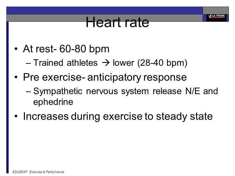 EDU2EXP Exercise & Performance Heart rate At rest- 60-80 bpm –Trained athletes  lower (28-40 bpm) Pre exercise- anticipatory response –Sympathetic ne