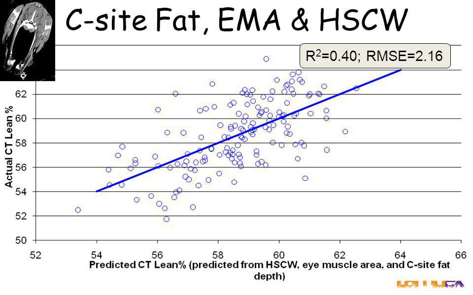 C-site Fat, EMA & HSCW R 2 =0.40; RMSE=2.16