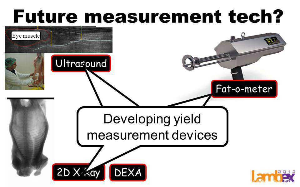 Future measurement tech? Eye muscle Ultrasound 2D X-Ray Fat-o-meter Devices for yield measurement Developing yield measurement devices DEXA