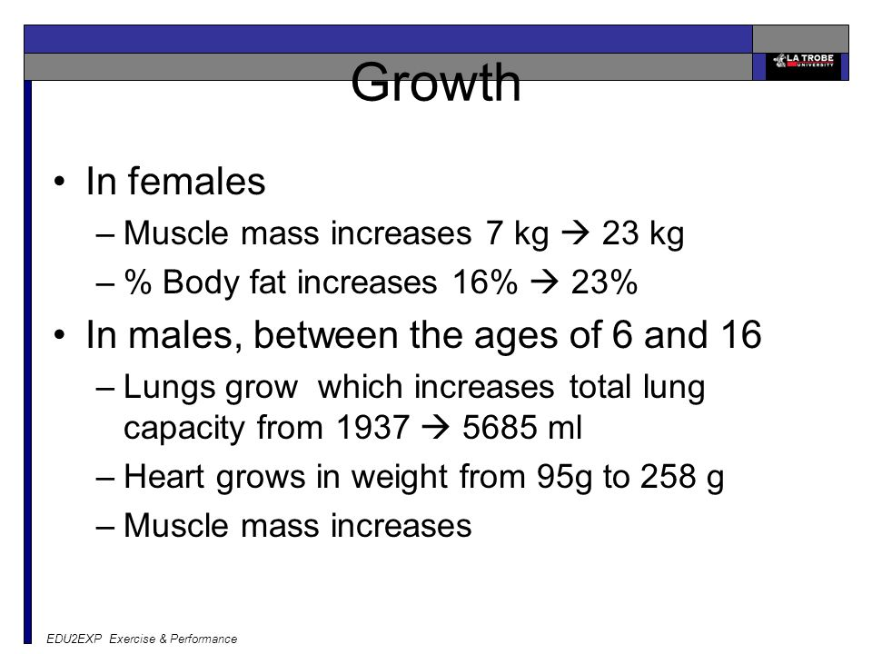 EDU2EXP Exercise & Performance Growth In females –Muscle mass increases 7 kg  23 kg –% Body fat increases 16%  23% In males, between the ages of 6 and 16 –Lungs grow which increases total lung capacity from 1937  5685 ml –Heart grows in weight from 95g to 258 g –Muscle mass increases