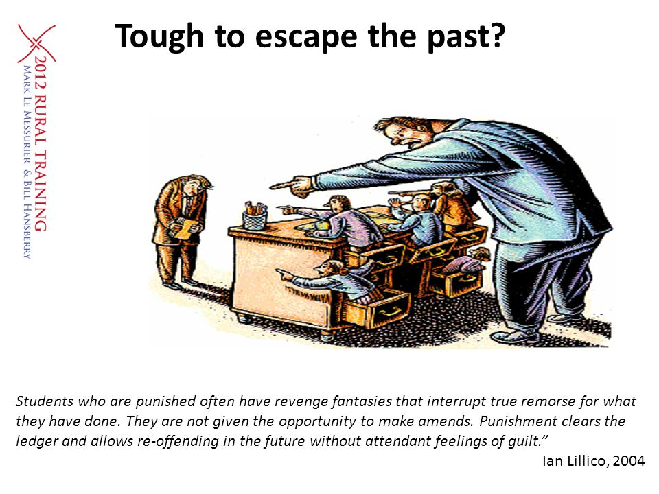 Tough to escape the past? Students who are punished often have revenge fantasies that interrupt true remorse for what they have done. They are not giv