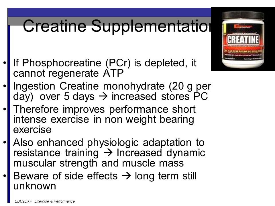 Creatine Supplementation If Phosphocreatine (PCr) is depleted, it cannot regenerate ATP Ingestion Creatine monohydrate (20 g per day) over 5 days  in