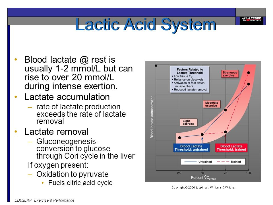 EDU2EXP Exercise & Performance Lactic Acid System Blood lactate @ rest is usually 1-2 mmol/L but can rise to over 20 mmol/L during intense exertion. L