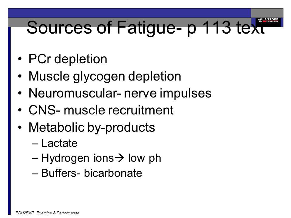 EDU2EXP Exercise & Performance Sources of Fatigue- p 113 text PCr depletion Muscle glycogen depletion Neuromuscular- nerve impulses CNS- muscle recrui