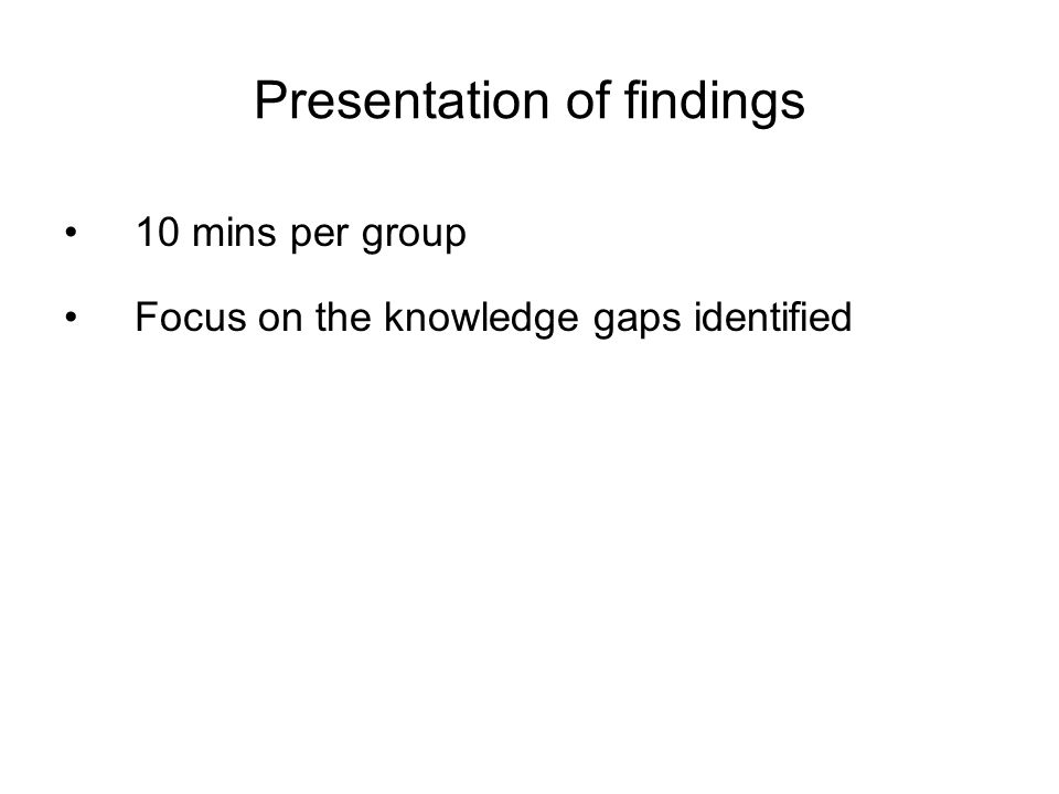 Presentation of findings 10 mins per group Focus on the knowledge gaps identified
