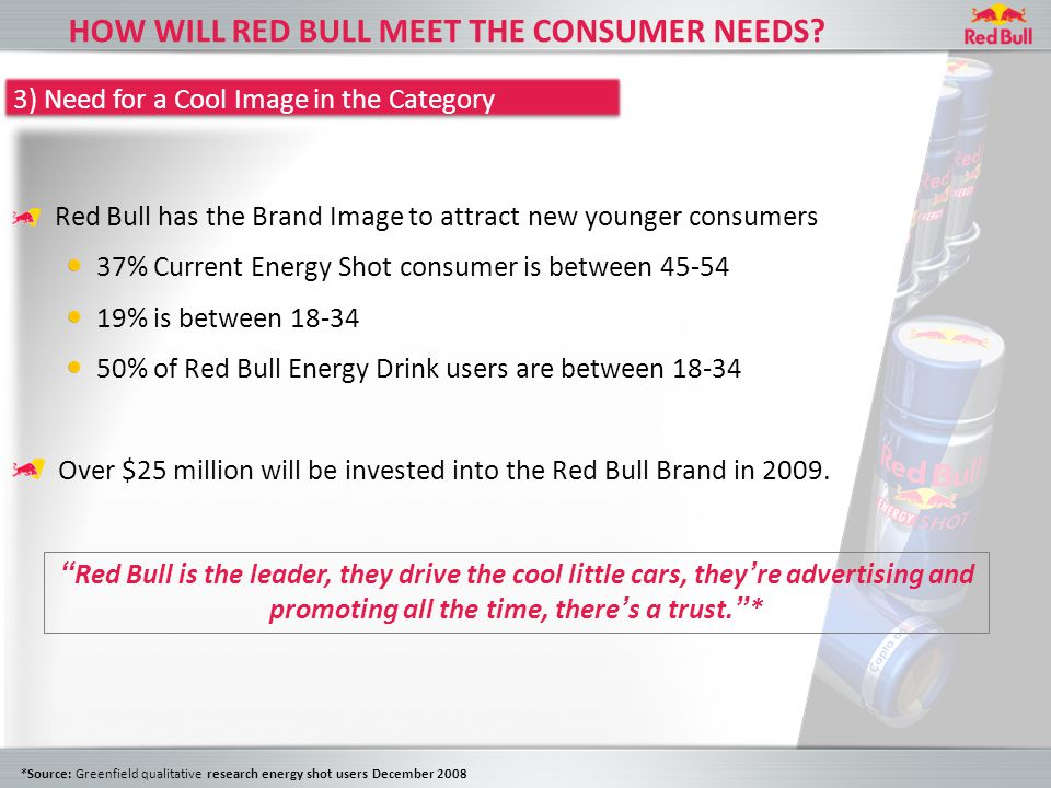 Red Bull has the Brand Image to attract new younger consumers 37% Current Energy Shot consumer is between 45-54 19% is between 18-34 50% of Red Bull Energy Drink users are between 18-34 Over $25 million will be invested into the Red Bull Brand in 2009.