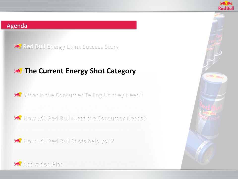 ENERGY SHOTS BACKGROUND Energy shots are a rapidly emerging market in North America and Europe, generating in 2008: 188 million units sales value of US$423m Category growth +200% in 2008* Key findings from the 2009 Zenith Energy Shot Drinks report include: 250ml/500ml energy drinks may contain too much volume for some consumers; Shots opening up new consumption occasions for energy; Appealing to new energy consumers; Ready to expand into new markets.
