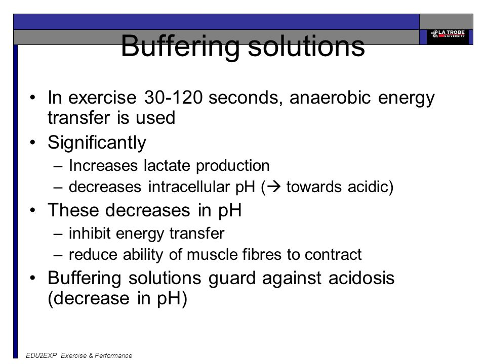 EDU2EXP Exercise & Performance Buffering solutions In exercise 30-120 seconds, anaerobic energy transfer is used Significantly –Increases lactate production –decreases intracellular pH (  towards acidic) These decreases in pH –inhibit energy transfer –reduce ability of muscle fibres to contract Buffering solutions guard against acidosis (decrease in pH)