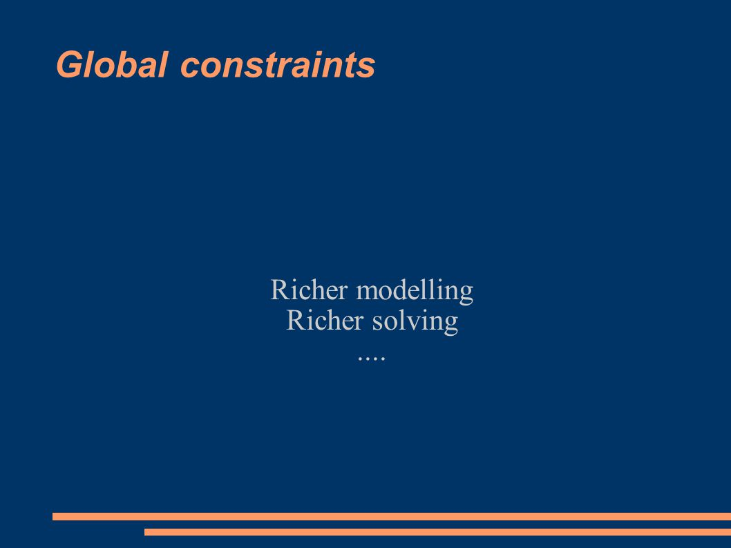 Global constraints Richer modelling Richer solving....