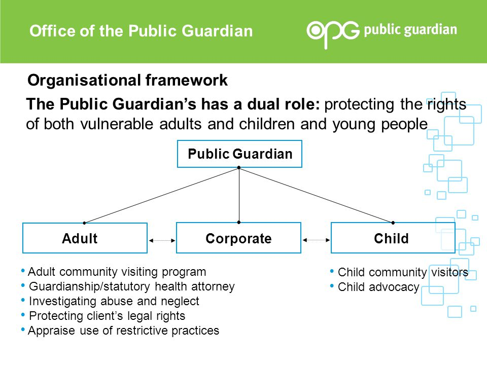 Organisational framework Public Guardian Adult Child Corporate Office of the Public Guardian The Public Guardian's has a dual role: protecting the rig