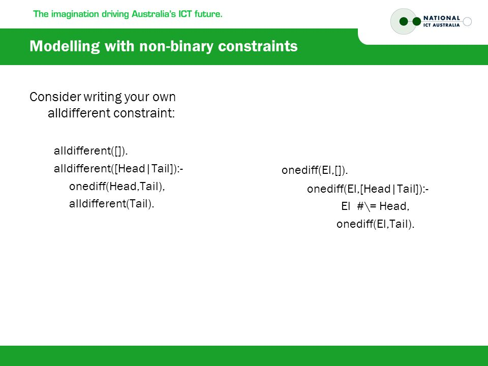 Modelling with non-binary constraints Consider writing your own alldifferent constraint: alldifferent([]).