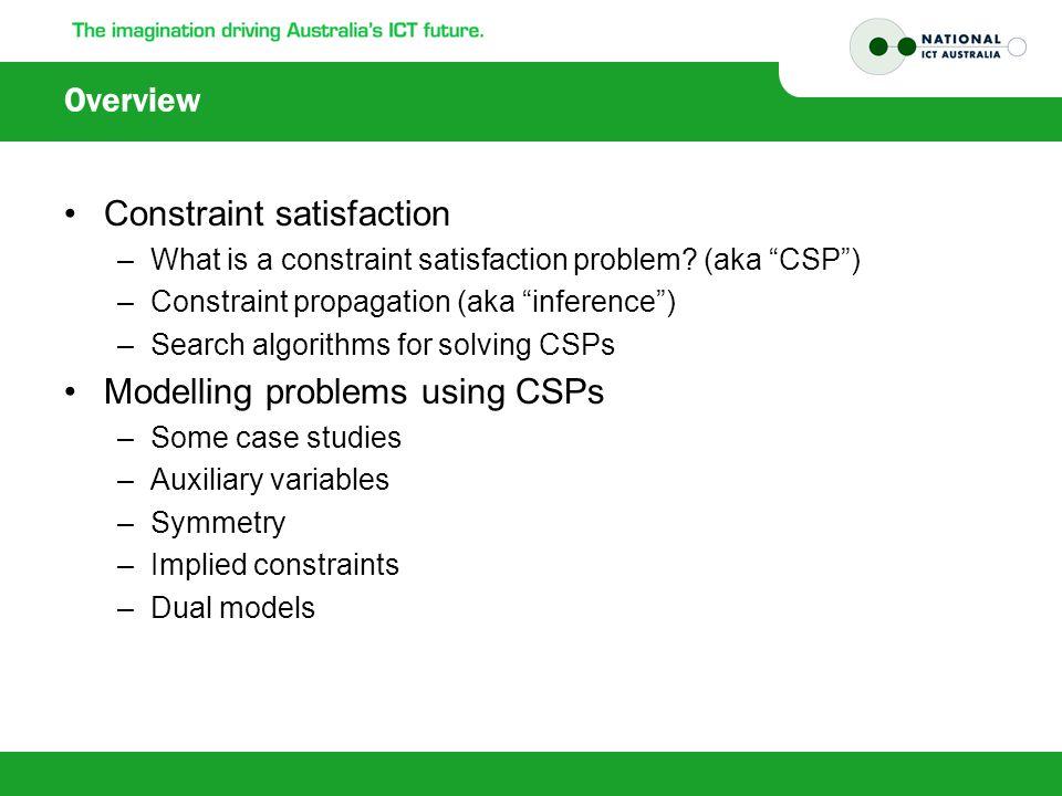 Resources Course links –http://www.cse.unsw.edu.au/~tw/cp.html Benchmark problems –www.csplib.orgwww.csplib.org Constraints solvers –Logic programming languages: ECLIPSE, BProlog –Functional languages: FaCiLe (OCaml), … –Imperative languages: Choco (Java), …