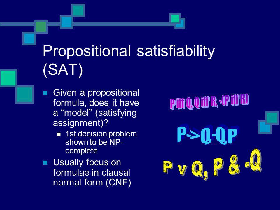 "Propositional satisfiability (SAT) Given a propositional formula, does it have a ""model"" (satisfying assignment)? 1st decision problem shown to be NP-"