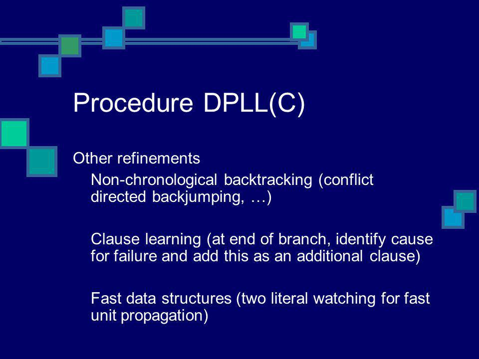 Procedure DPLL(C) Other refinements Non-chronological backtracking (conflict directed backjumping, …) Clause learning (at end of branch, identify caus