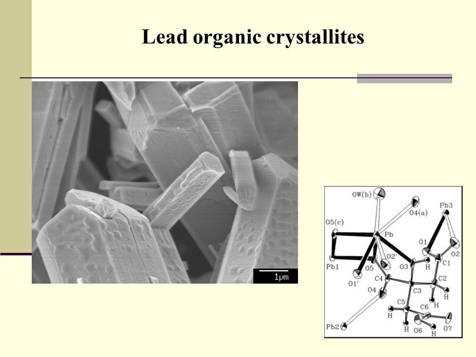 Lead organic crystallites