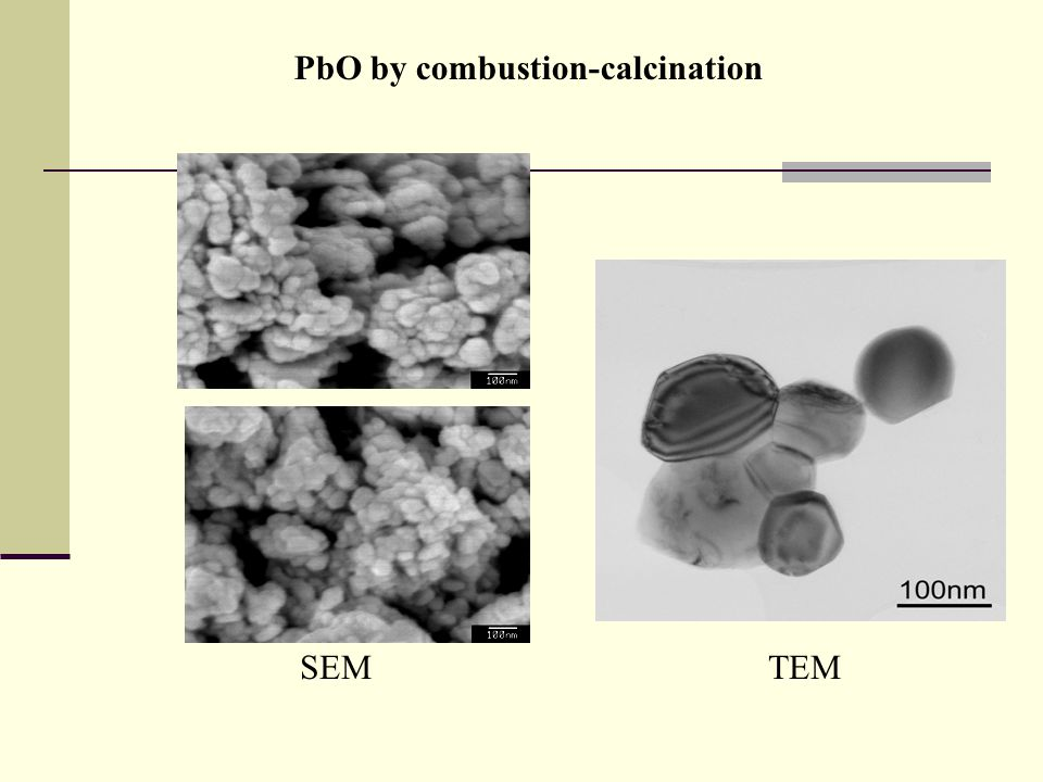 PbO by combustion-calcination SEMTEM
