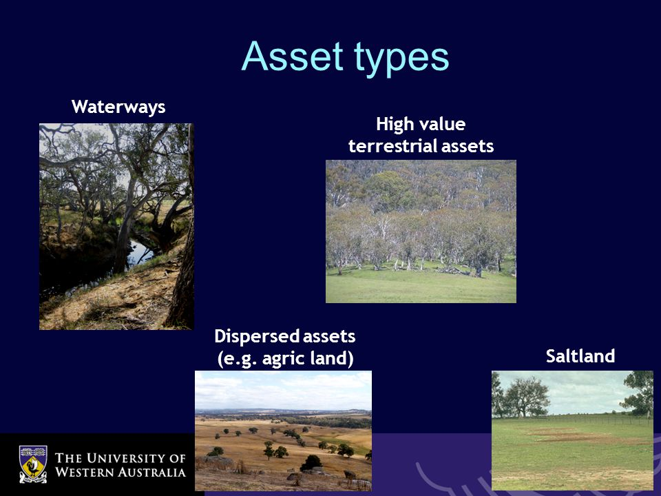 School of Agricultural & Resource Economics High value terrestrial assets Waterways Dispersed assets (e.g.