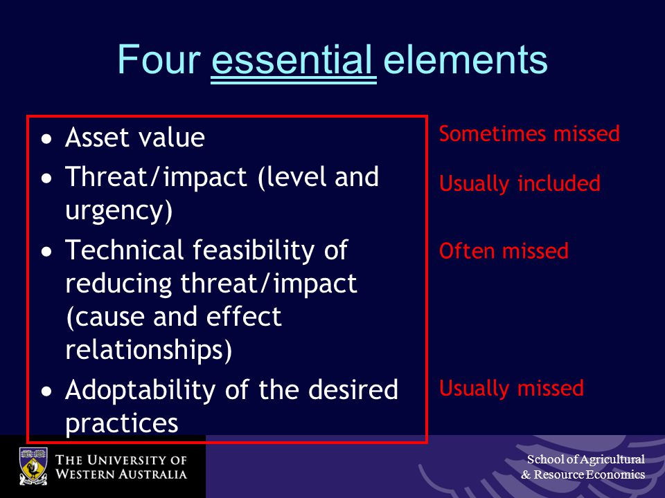 School of Agricultural & Resource Economics Four essential elements  Asset value  Threat/impact (level and urgency)  Technical feasibility of reducing threat/impact (cause and effect relationships)  Adoptability of the desired practices Sometimes missed Often missed Usually missed Usually included