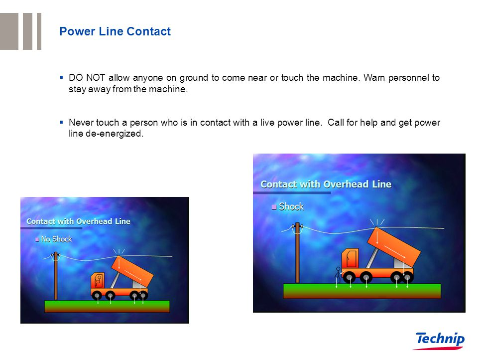 Power Line Contact  DO NOT allow anyone on ground to come near or touch the machine. Warn personnel to stay away from the machine.  Never touch a pe