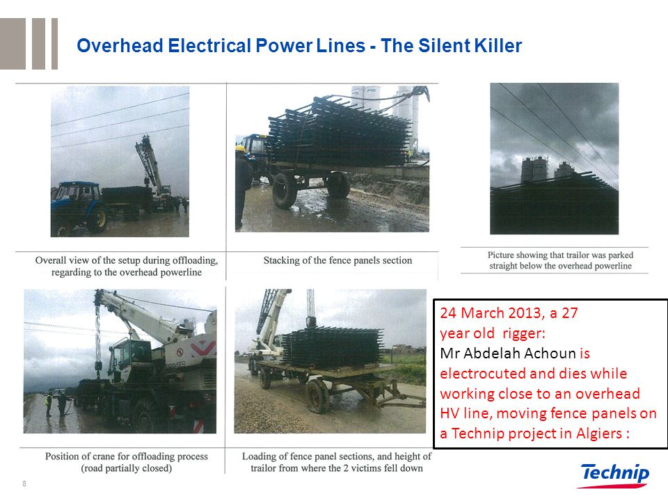 8 Overhead Electrical Power Lines - The Silent Killer 24 March 2013, a 27 year old rigger: Mr Abdelah Achoun is electrocuted and dies while working close to an overhead HV line, moving fence panels on a Technip project in Algiers :