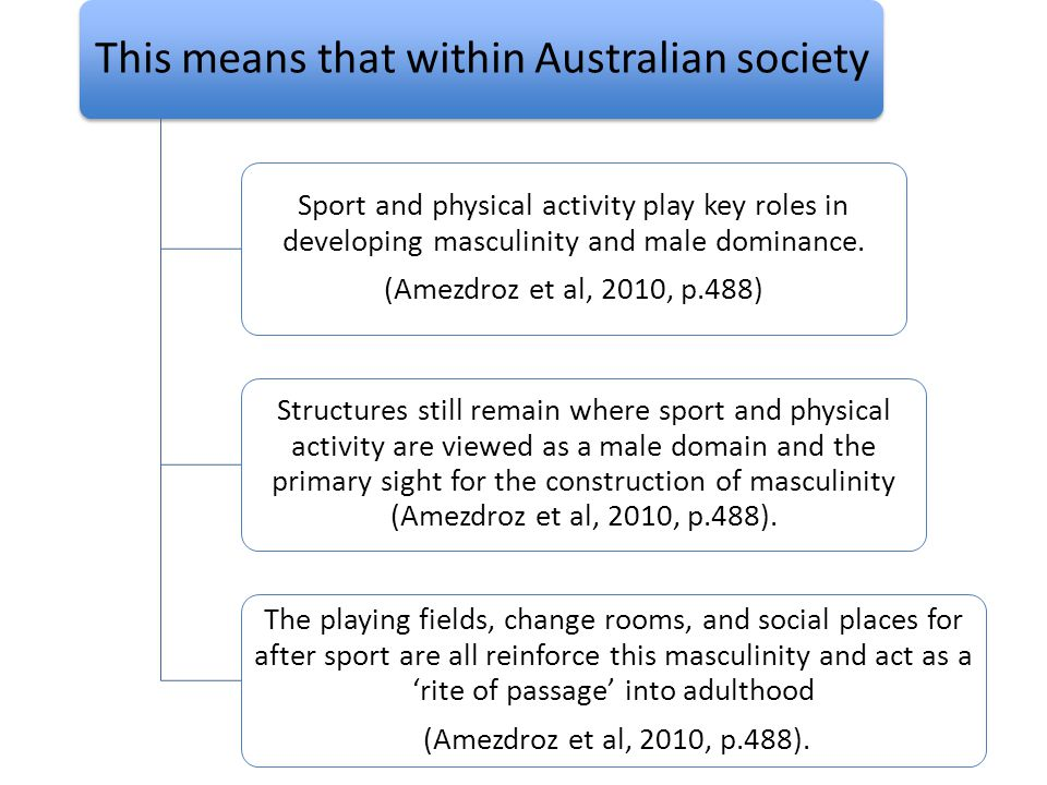 Hegemonic Masculinity These structures remain shaped by early history in which sport and physical activity were viewed as mainly a male domain (pg.