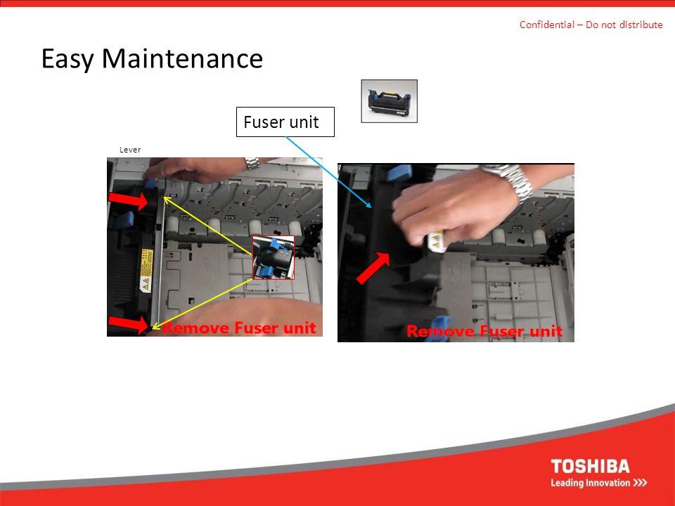 Easy Maintenance Confidential – Do not distribute Fuser unit Lever