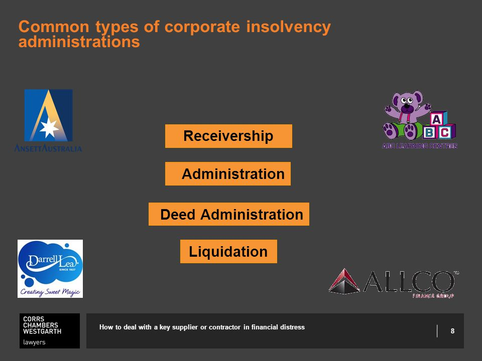 8 Common types of corporate insolvency administrations How to deal with a key supplier or contractor in financial distress Receivership Administration Liquidation Deed Administration