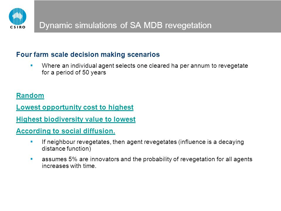 Dynamic simulations of SA MDB revegetation Four farm scale decision making scenarios  Where an individual agent selects one cleared ha per annum to r