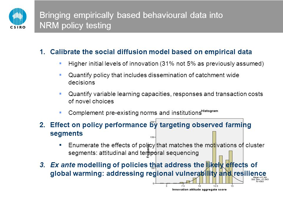 Bringing empirically based behavioural data into NRM policy testing 1.Calibrate the social diffusion model based on empirical data  Higher initial le