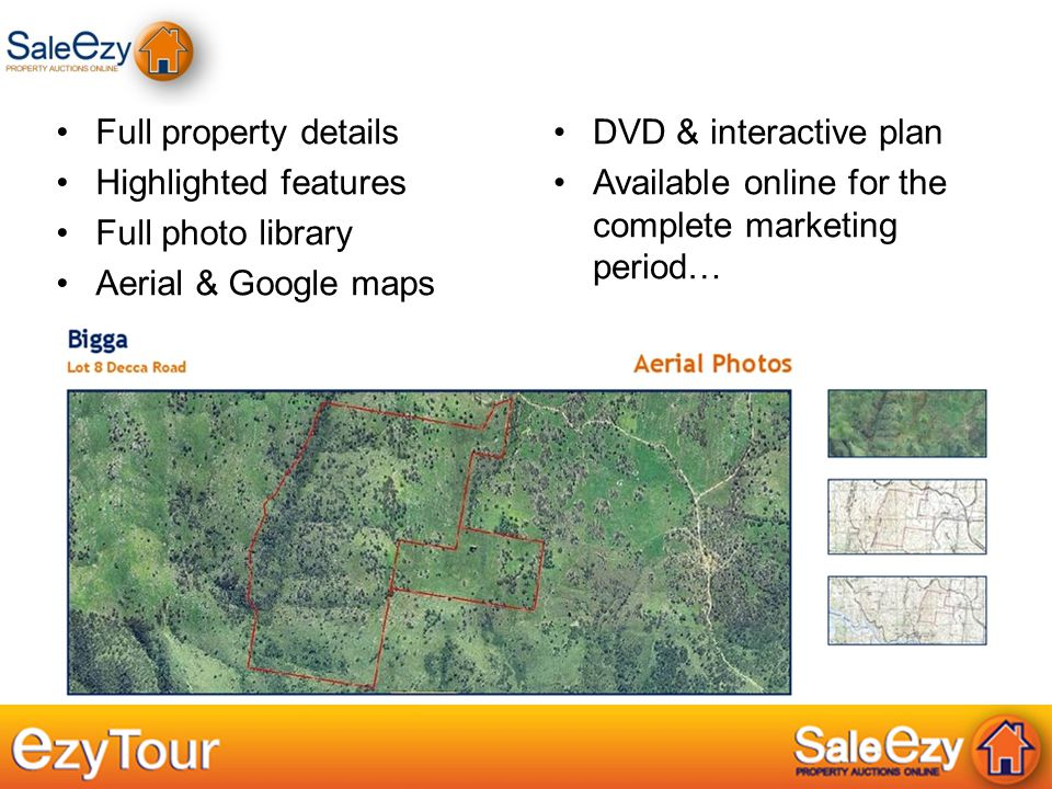 Full property details Highlighted features Full photo library Aerial & Google maps DVD & interactive plan Available online for the complete marketing