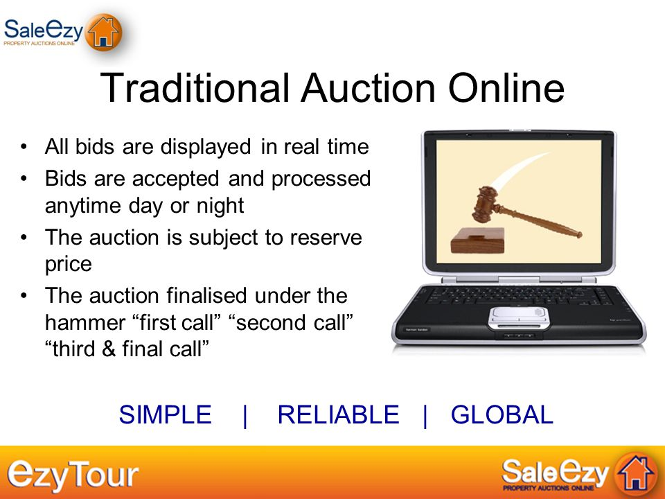 Traditional Auction Online All bids are displayed in real time Bids are accepted and processed anytime day or night The auction is subject to reserve