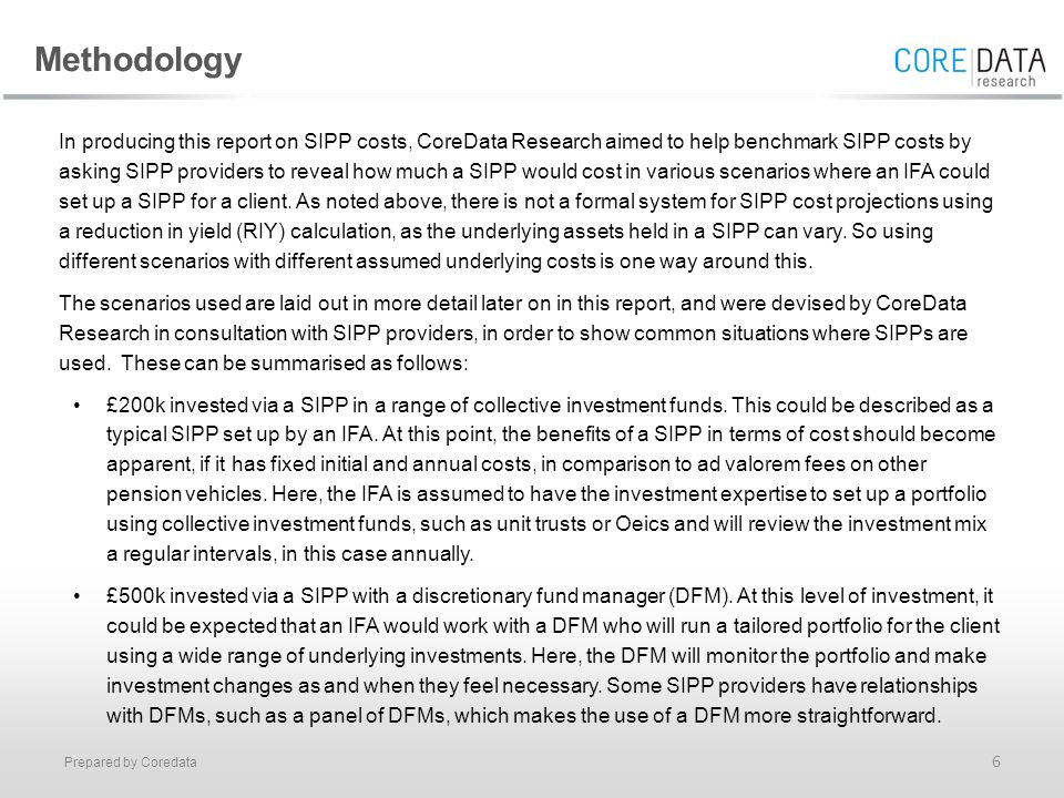 Prepared by Coredata 6 In producing this report on SIPP costs, CoreData Research aimed to help benchmark SIPP costs by asking SIPP providers to reveal how much a SIPP would cost in various scenarios where an IFA could set up a SIPP for a client.