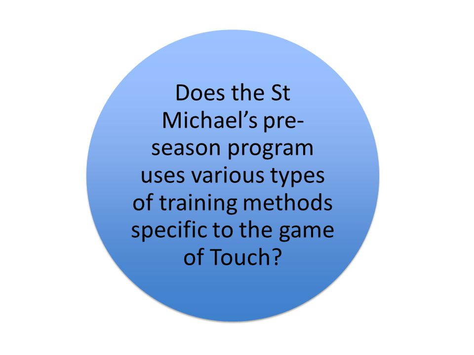 Does the St Michael's pre- season program uses various types of training methods specific to the game of Touch