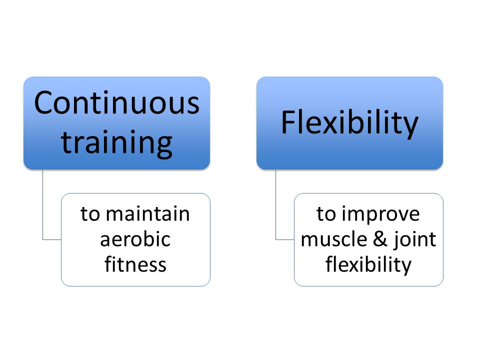 Continuous training to maintain aerobic fitness Flexibility to improve muscle & joint flexibility