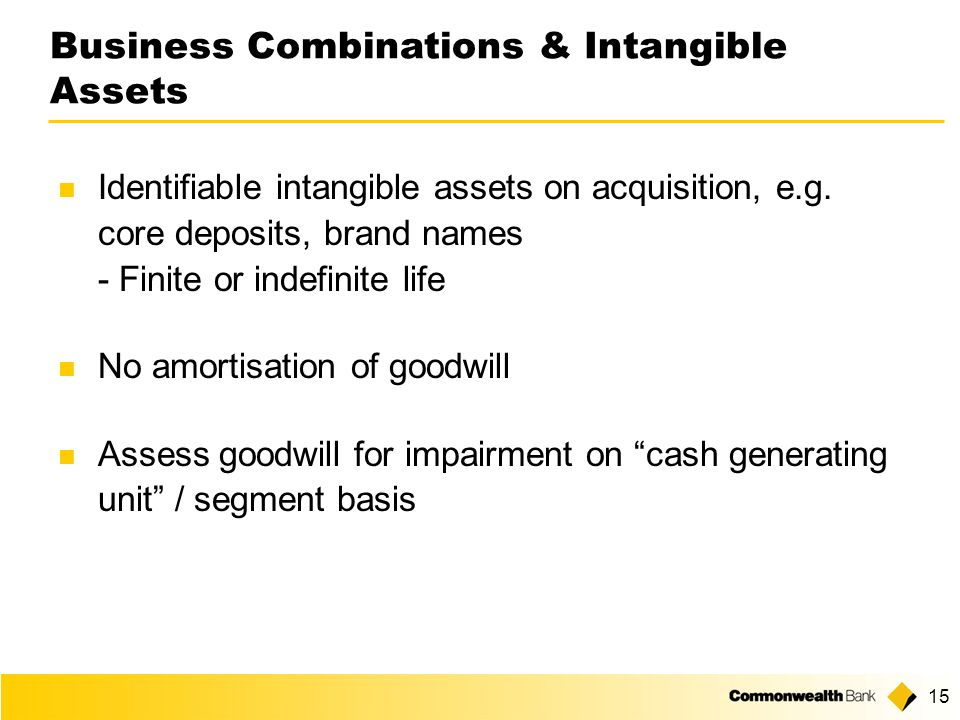 15 Business Combinations & Intangible Assets Identifiable intangible assets on acquisition, e.g.