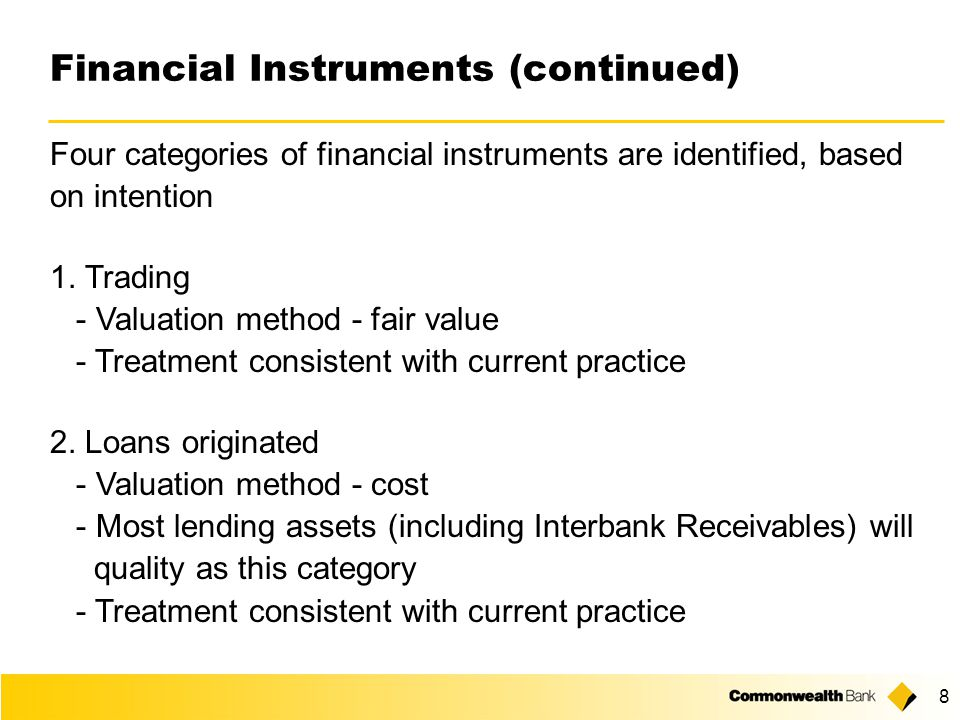 Application of International Accounting Standards to Australian Banks Geoff Steel Group Finance Commonwealth Bank of Australia 1 July 2003