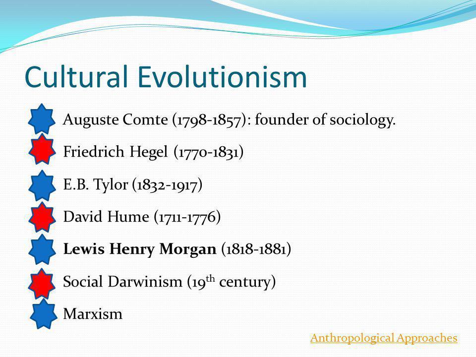 Cultural Evolutionism Auguste Comte (1798-1857): founder of sociology.