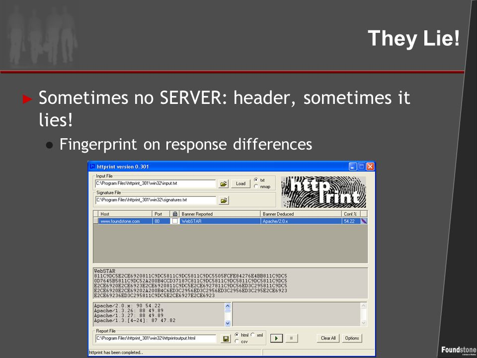 How does HTTPrint work out the server type?