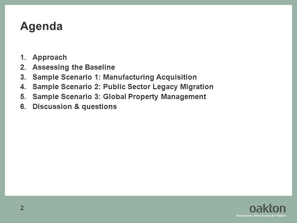 2 Agenda 1.Approach 2.Assessing the Baseline 3.Sample Scenario 1: Manufacturing Acquisition 4.Sample Scenario 2: Public Sector Legacy Migration 5.Samp