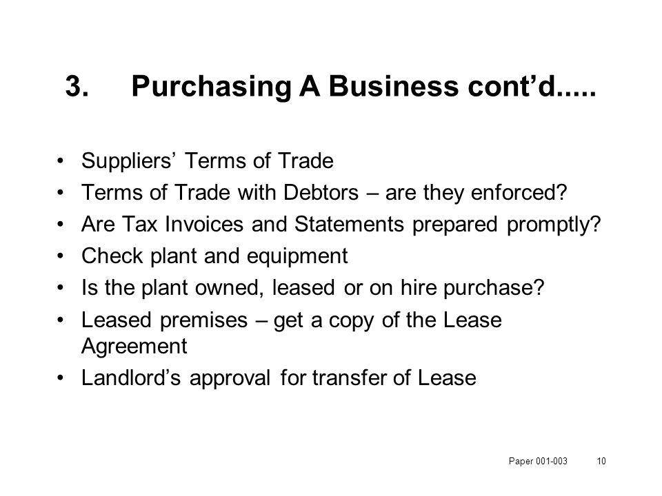 Paper 001-00310 3.Purchasing A Business cont'd.....