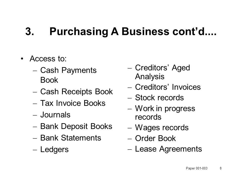 Paper 001-0038 3.Purchasing A Business cont'd....
