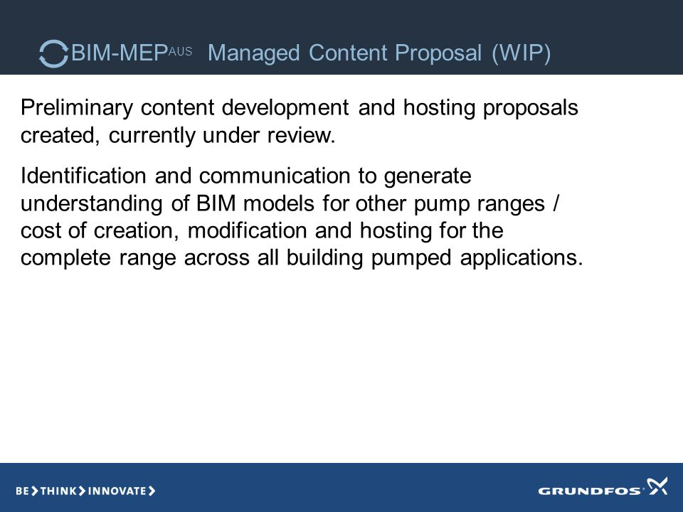 BIM-MEP AUS Managed Content Proposal (WIP) Preliminary content development and hosting proposals created, currently under review.