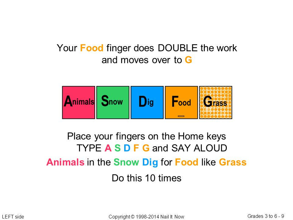 LEFT sideCopyright © 1998-2014 Nail It Now Grades 3 to 6 - 9 Place your fingers on the Home keys TYPE A S D F G and SAY ALOUD Animals in the Snow Dig for Food like Grass Do this 10 times Your Food finger does DOUBLE the work and moves over to G