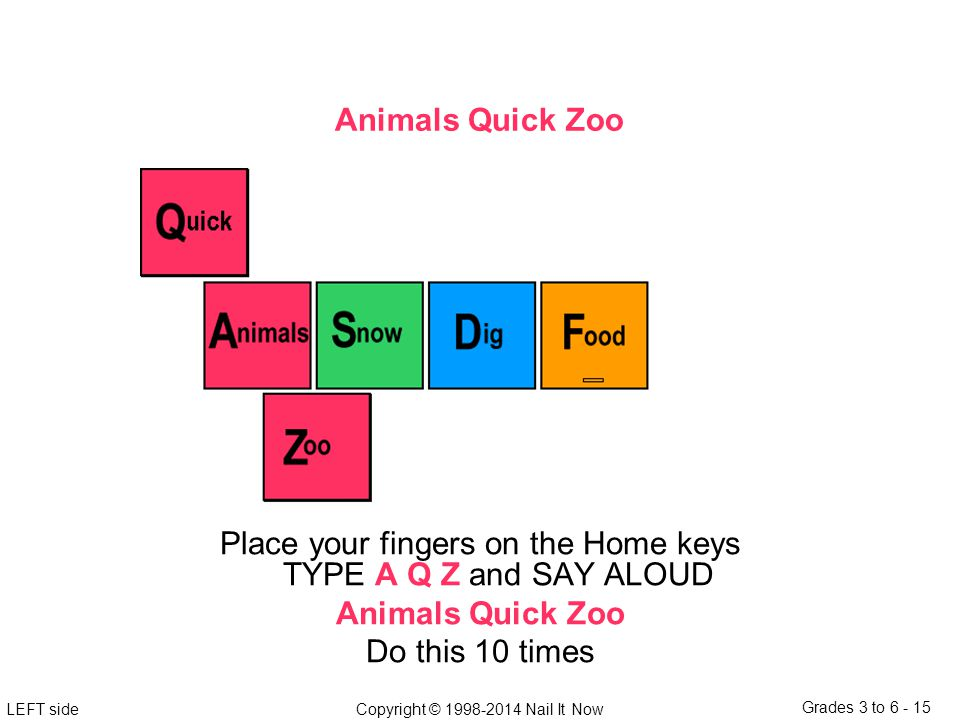 LEFT sideCopyright © 1998-2014 Nail It Now Grades 3 to 6 - 15 Animals Quick Zoo Place your fingers on the Home keys TYPE A Q Z and SAY ALOUD Animals Quick Zoo Do this 10 times