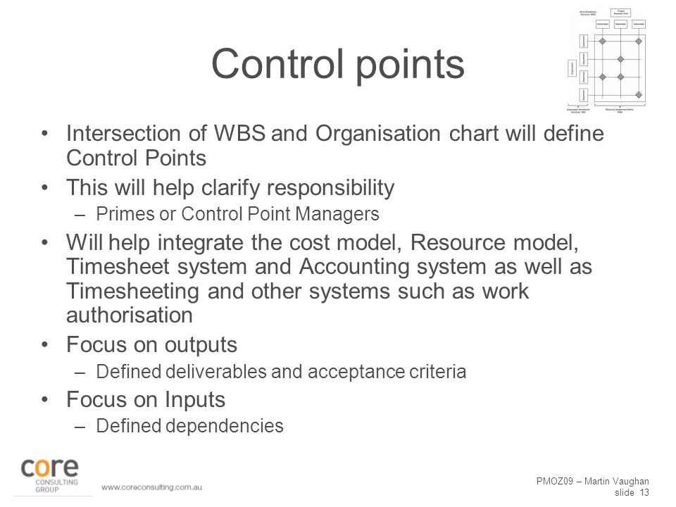 PMOZ09 – Martin Vaughan slide 13 Control points Intersection of WBS and Organisation chart will define Control Points This will help clarify responsibility –Primes or Control Point Managers Will help integrate the cost model, Resource model, Timesheet system and Accounting system as well as Timesheeting and other systems such as work authorisation Focus on outputs –Defined deliverables and acceptance criteria Focus on Inputs –Defined dependencies